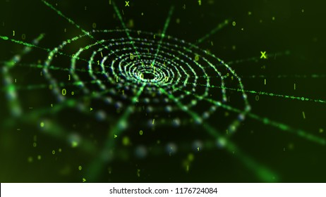 A mystifying 3d rendering of a khaki old spider net put askew in the dark khaki background. It is inclined a bit among flying cyberspace digits such as one, zero and Latin ten