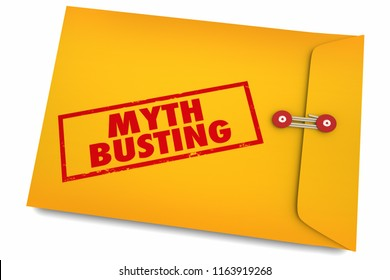Myth Busting Facts Find Truth Reality Envelope 3d Illustration