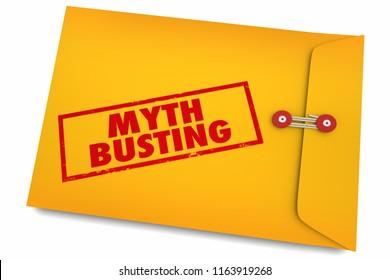 Myth Busting Facts Find Truth Reality Envelope 3d Illustration