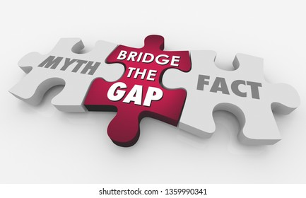 Myth Vs Fact Bridge the Gap Puzzle Words 3d Illustration