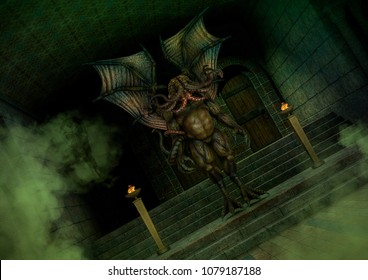 Mythical Cthulhu monster standing in an old temple. 3D Illustration.