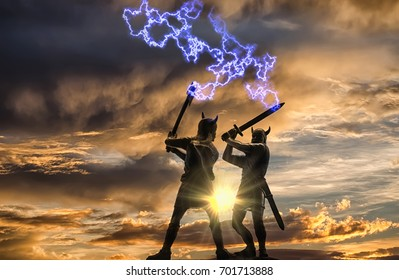 Mythical duel between two Old Norse Gods (one holding an ax and the other holding a sword), blue lightning strikes at them, background: gloomy sunset sky with menacing clouds and bright sun