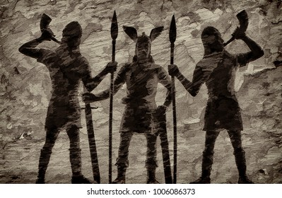 Mythical Old Norse God Odin with a long sword in his hand and two guards/spearmen, trumpeting in horns, viking theme, Norsemen, creative illustration in style of textured sketch drawing
