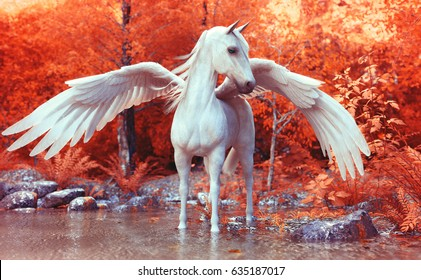 Mythical Pegasus posing in an enchanted forest . 3d rendering