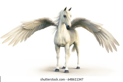 Mythical white Pegasus posing on white isolated background. 3d rendering