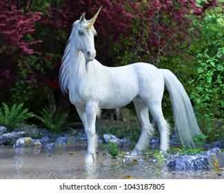 Mythisches weißes Unicorn posiert in einem verzauberten Wald . 3D-Rendering