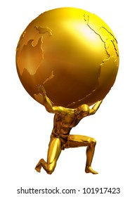 Mythological Atlas in pure Gold, a man carries the world on his shoulders