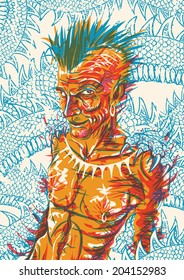 Mythological trickster, mischievous tribal warrior with a mohawk and a dragon as his spirit animal
