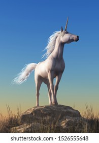 The mythological unicorn stands atop a boulder, the proudest horse, its spiral horn pointing to the sky in this fantasy equine scene. 3D Rendering