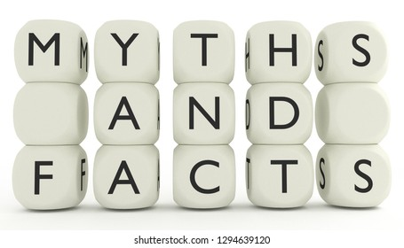 Myths and facts written on dices. 3D render illustration isolated on white background with no people.