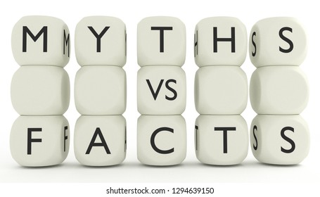 Myths vs facts words on dices. 3D render illustration. Knowing difference between myths and facts.