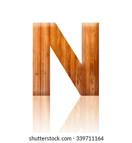 N letter. Wooden style