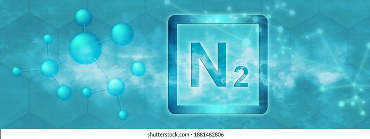 N2 symbol. Nitrogen molecule with molecule and network on blue background