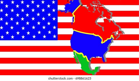 NAFTA - American trade agreement A map of Mexico, the USA and Canada on the American flag. Beside a shadow map in black as a symbol of the NAFTA. Dollar notes are shining through. Inscription: NAFTA
