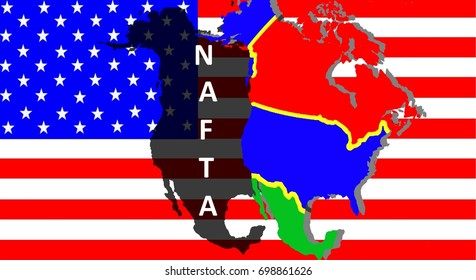 NAFTA - American trade agreement A map of Mexico, the USA and Canada on the American flag. Beside a shadow map in black as a symbol of the NAFTA. Inscription: NAFTA