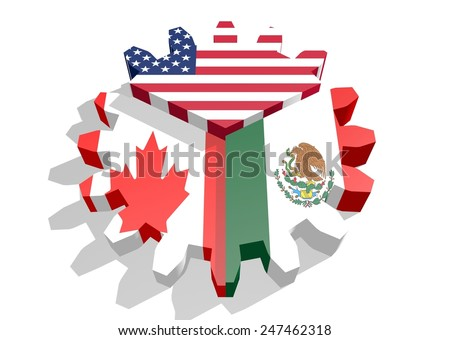 Nafta North American Free Trade Agreement Stock Illustration