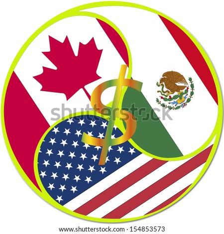 Nafta Symbol North American Free Trade Stock Illustration Royalty