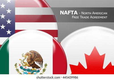 NAFTA USA Canada Mexico - Flag buttons labeled with NAFTA - North American Free Trade Agreement
