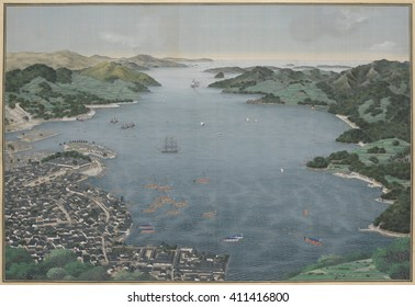 Nagasaki Harbor, by Kawahara Keiga, c. 1800-50, Japanese painting, watercolor on silk. Dutch and Chinese ships lie at anchor. The Dutch flags waves over the crescent-shaped island of Deshima, where t