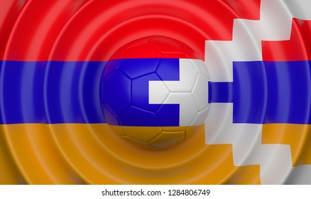 Nagorno Karabakh, soccer ball on a wavy background, complementing the composition in the form of a flag, 3d illustration