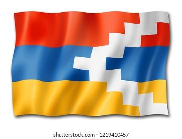 Nagorno-Karabakh flag, three dimensional render, isolated on white