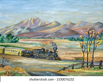 Naive painting of an old western steam train traveling trough a mountainous and arid landscape.