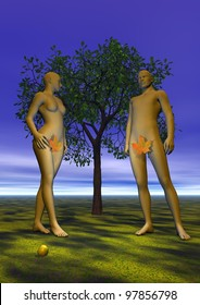 Naked Adam and Eve with a leaf in front of a tree, an apple near their feet, in eden garden by night