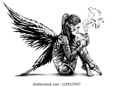 Naked angel sitting and Smoking a pipe