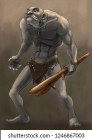 Naked wild man - Ogre with wood weapon