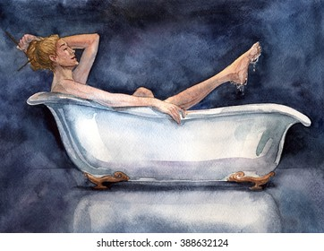 Naked woman sitting in the bath. Hand made illustration. paper pencil watercolors