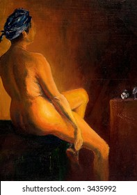 Naked woman sitting, this is oil on canvas, painting art and I am author of this image