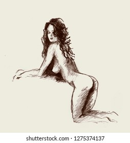 The naked woman who is kneeling and inclined forward. Pencil drawing