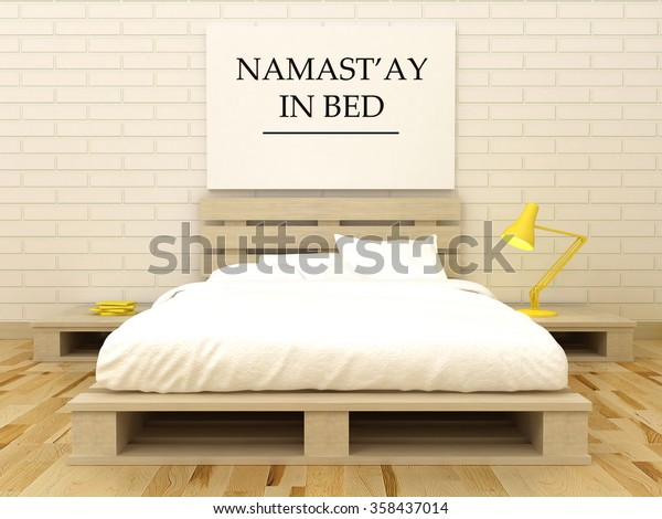 Namastay Bed Namaste Yoga Art Bedroom Stock Illustration 358437014