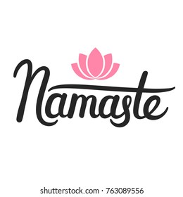 Namaste bitches humorous calligraphy quote hand stock illustration namaste indian greeting brush ink calligraphy lettering hand drawn quote with simple lotus mightylinksfo