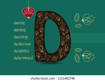 Name Day Card for custom name. Artistic letter D with golden floral decor. Vintage heart with chain. Words begining with the letter D - determined, dexterous, daring, darling, delightful, dazzling