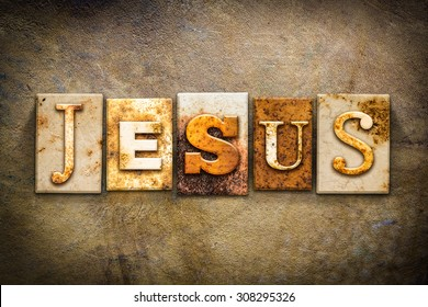 """The name """"JESUS"""" written in rusty metal letterpress type on an old aged leather background."""