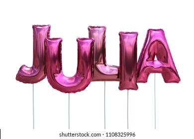 Name made of pink inflatable balloons isolated on white background 3D Illustration