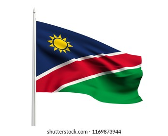 Namibia flag floating in the wind with a White sky background. 3D illustration.