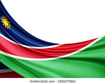 Namibia flag of silk with copyspace for your text or images and white  background -3D illustration
