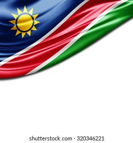 Namibia  flag of silk with copyspace for your text or images and White background