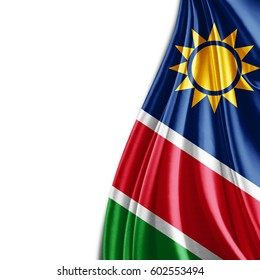 Namibia  flag  of silk with copyspace for your text or images and white background-3D illustration