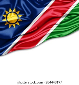 Namibia  flag of silk and white background