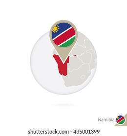 Namibia map and flag in circle. Map of Namibia, Namibia flag pin. Map of Namibia in the style of the globe. Raster copy.