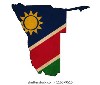 Namibia map on Namibia flag drawing ,grunge and retro flag series