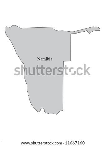 Namibia Map Outline Map Namibia Africa Stockillustration 11667160 ...
