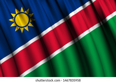 Namibia waving flag illustration. Countries of Africa. Perfect for background and texture usage.