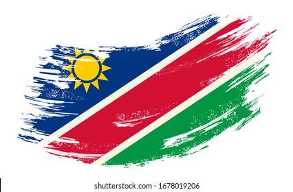 Namibian flag brush stroke grunge background. Raster version.