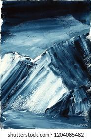 Nanga Parbat peak, Himalayan mountain landscape, watercolors, snowy peaks, wall painting, decoration