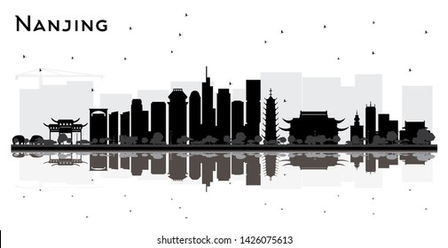 Nanjing China City Skyline Silhouette with Black Buildings and Reflections Isolated on White. Business Travel and Tourism Concept with Modern Architecture. Nanjing Cityscape with Landmarks.