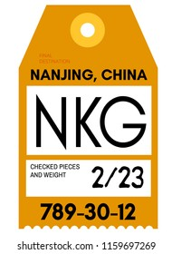 Nanjing realistically looking airport luggage tag